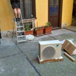 The outdoor condenser unit was arrived